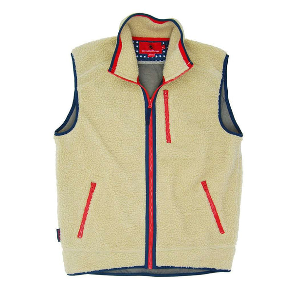 Southern Proper Old Glory Sherpa Vest in Cream