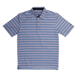 Performance Polo in Navy/Flamingo Stripe by Southern Proper - Country Club Prep