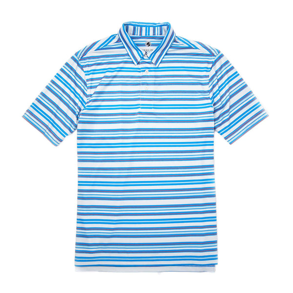 Southern Proper Performance Polo in Sky Blue Stripes