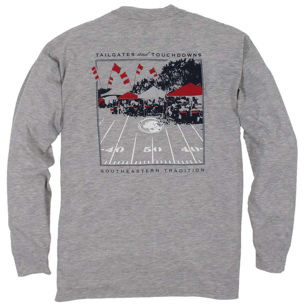 Southern Proper Tailgates and Touchdowns Long Sleeve Tee in Grey with Merlot