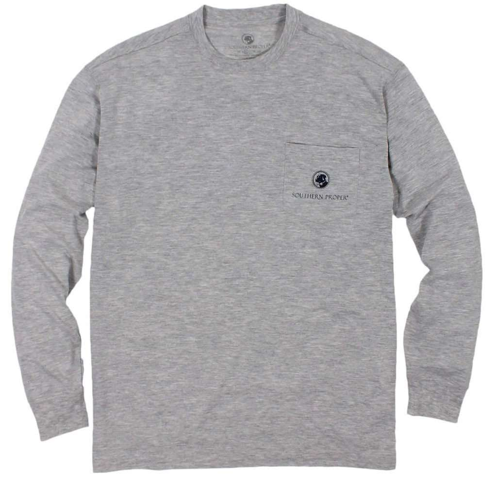 Southern Proper Tailgates and Touchdowns Long Sleeve Tee in Grey with Orange