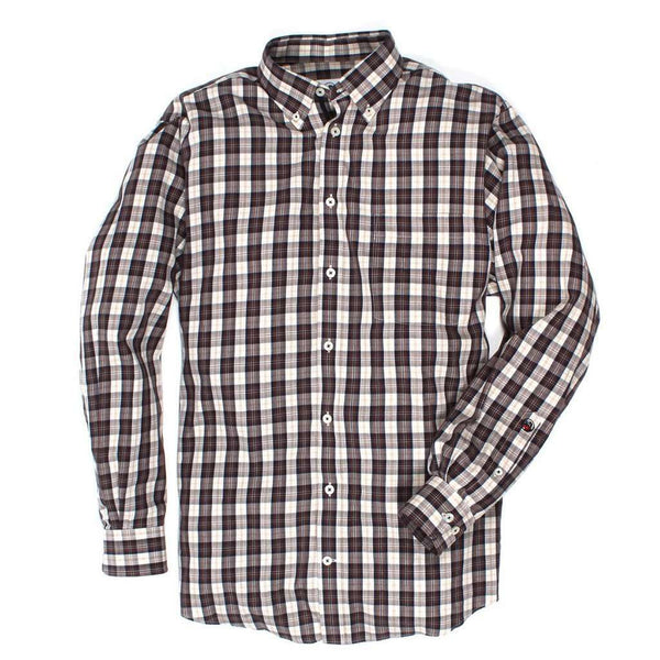 Southern Proper The Goal Line Plaid Button Down in Chestnut