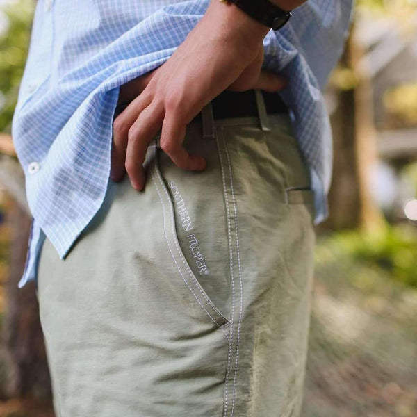 The River Hybrid Short in Creek Green by Southern Proper