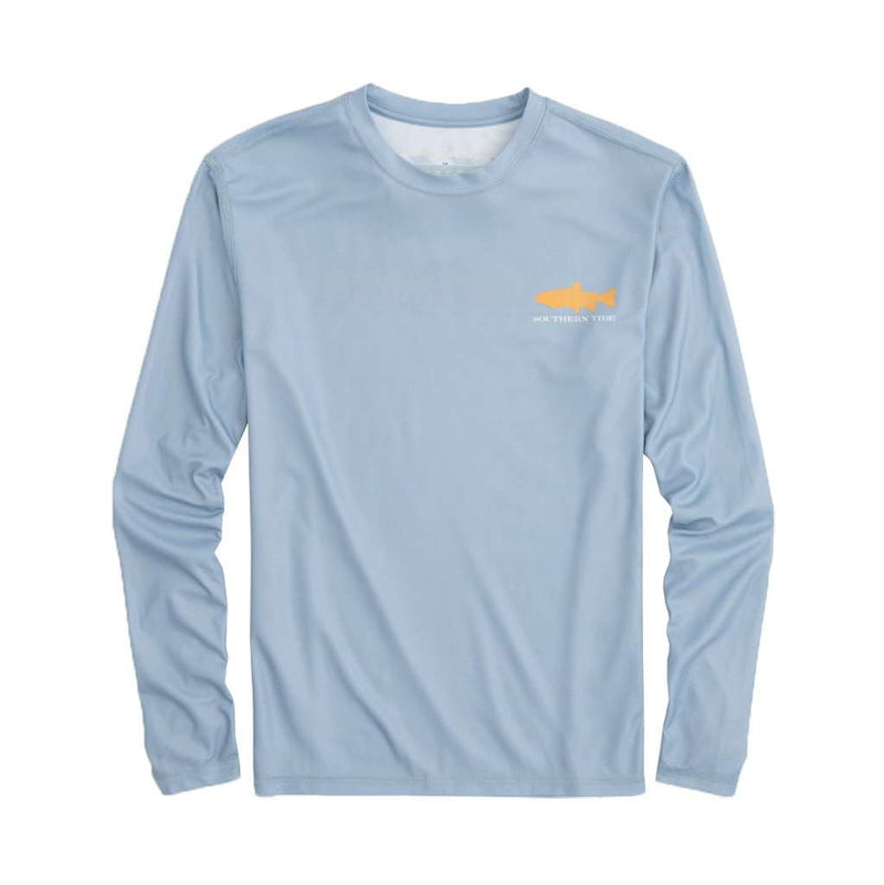 Southern Slam Series Brook Trout Long Sleeve Performance T-Shirt in Tsunami Grey by Southern Tide - FINAL SALE