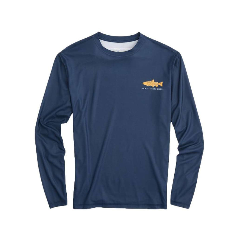 Southern Slam Series Brown Trout Long Sleeve Performance T-Shirt in Deep Sea by Southern Tide - FINAL SALE