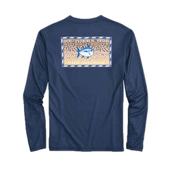 Southern Slam Series Brown Trout Long Sleeve Performance T-Shirt in Deep Sea