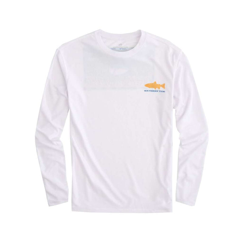 Southern Tide Southern Slam Series Rainbow Trout Long Sleeve Performance T-Shirt in Classic White by Southern Tide