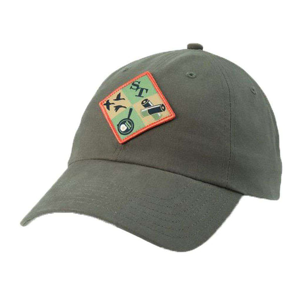 Southern Tide Campside Patch Waxed Hat in Dark Olive