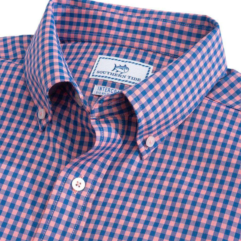Southern Tide Causeway Gingham Intercoastal Performance Shirt light coral