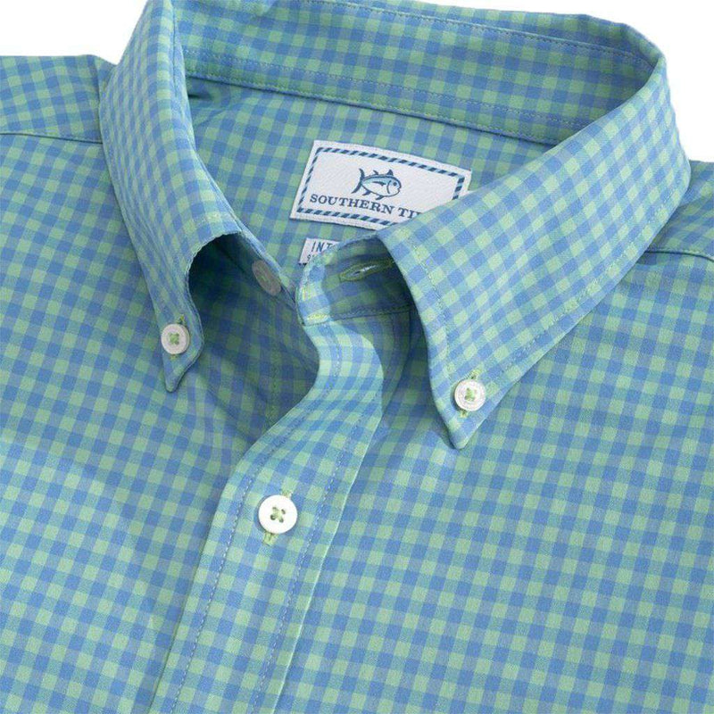Southern Tide Causeway Gingham Intercoastal Performance Shirt seaside green
