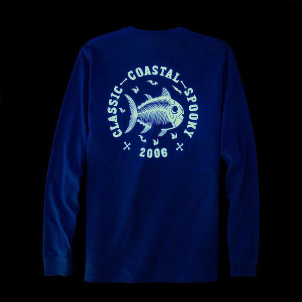 Southern Tide Classic Coastal Spooky Glow in the Dark Long Sleeve T-Shirt in Yacht Blue