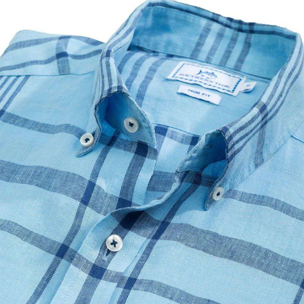 Coconut Creek Plaid Linen Sport Shirt in Sky Blue by Southern Tide - FINAL SALE