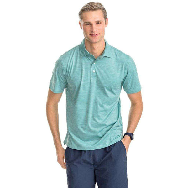 Southern Tide Coki Beach Striped Brrrº Performance Polo Shirt aqua green