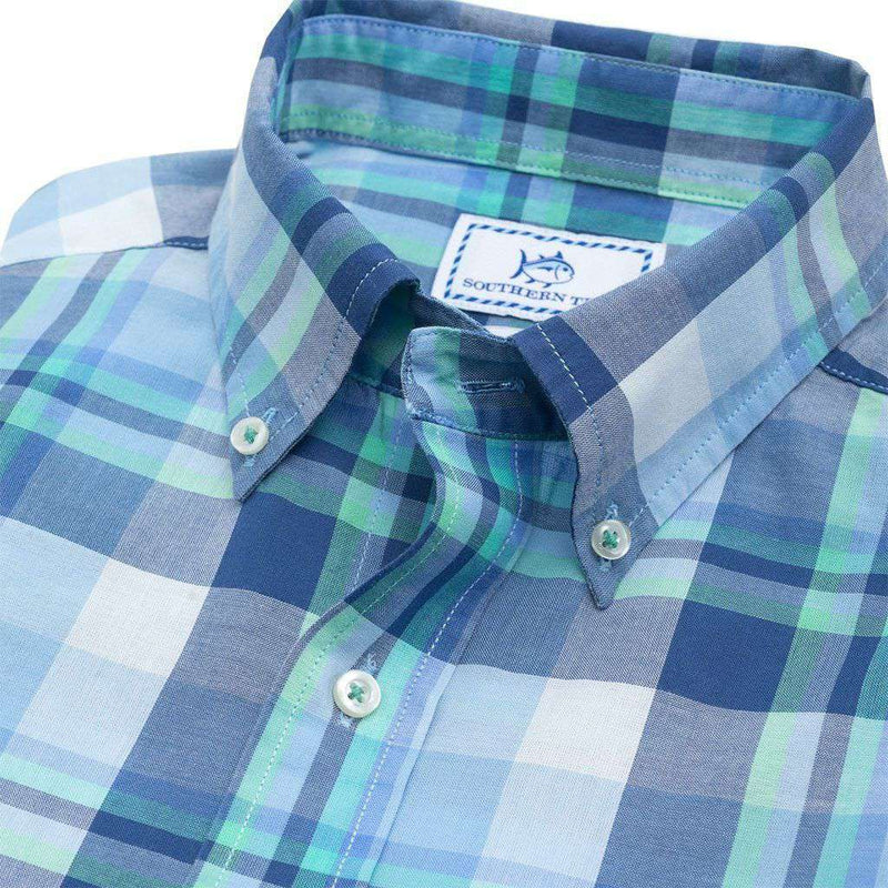 Crystal Shores Plaid Short Sleeve Sport Shirt in Seven Seas Blue by Southern Tide - FINAL SALE