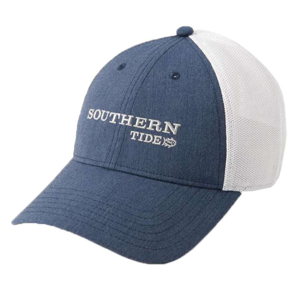 Southern Tide Embroidered Fitted Trucker in Heather Navy by Southern Tide