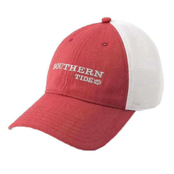 Southern Tide Embroidered Fitted Trucker in Heather Red