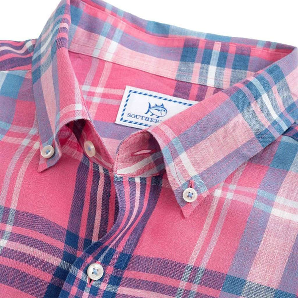 Emerald Isle Plaid Linen Sport Shirt in Dark Pink by Southern Tide - FINAL SALE