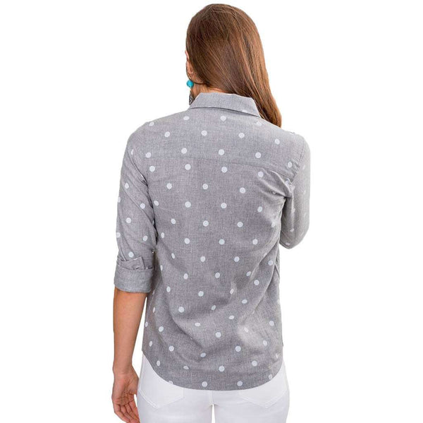 Emery Dot Button Front Tencel Shirt in Dynamic Gray by Southern Tide - FINAL SALE