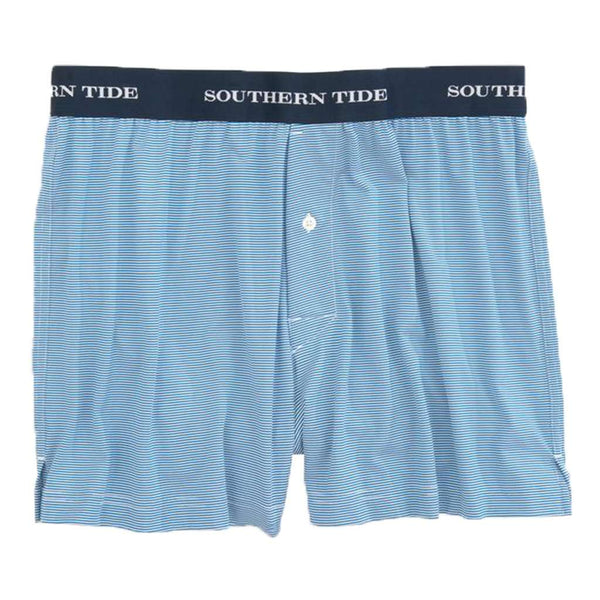 Southern Tide Fairway Dunes Stripe Performance Boxer in Deep Water