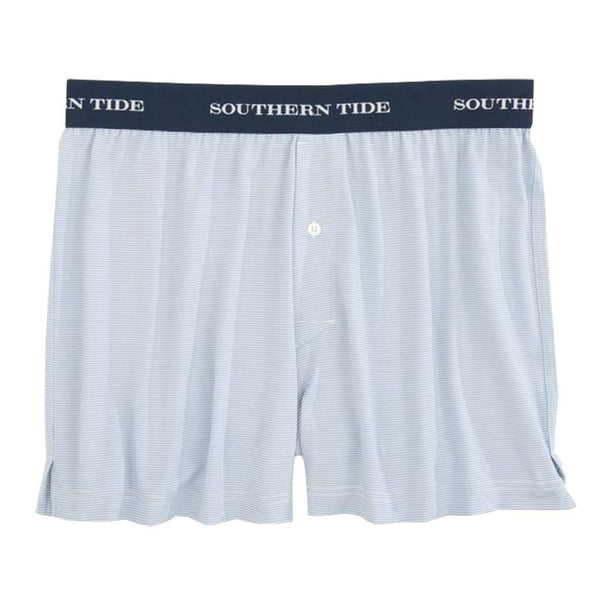 Southern Tide Fairway Dunes Stripe Performance Boxer in Tsunami Grey