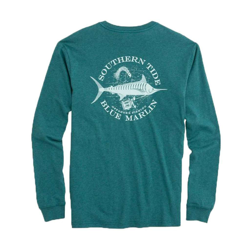Southern Tide Fish Series Blue Marlin Heathered Long Sleeve T-Shirt in Heather Dark Teal