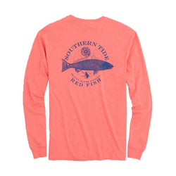 Southern Tide Fish Series Red Fish Heathered Long Sleeve T-Shirt in Heather Sea