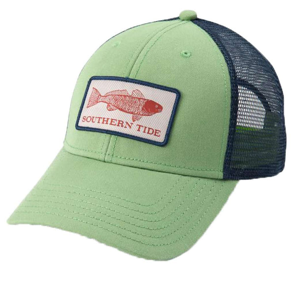 Fish Series Red Fish Patch Trucker Hat in Bay Leaf Green by Southern Tide 1babe315fb5a