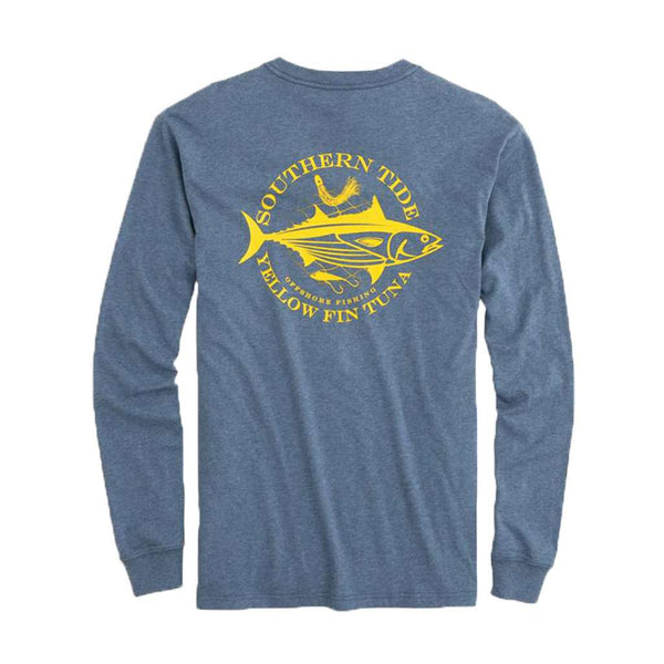 Southern Tide Fish Series Yellowfin Tuna Heathered Long Sleeve T-Shirt in Seven Seas Blue