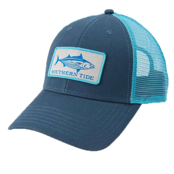 Southern Tide Fish Series Yellowfin Tuna Patch Trucker Hat in Light Indigo