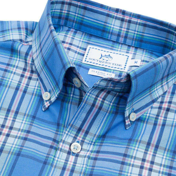 Southern Tide Flat Rock Plaid Sport Shirt in Charting Blue