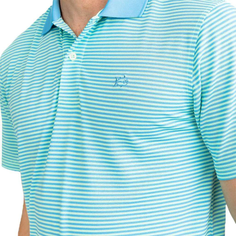 Southern Tide Fort Frederik Stripe Performance Pique Polo Shirt cedar green