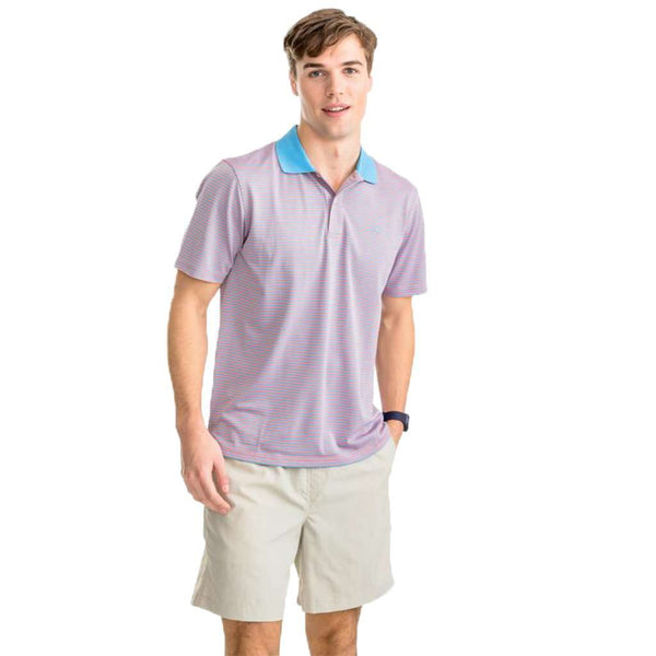 Southern Tide Fort Frederik Stripe Performance Pique Polo Shirt shell pink