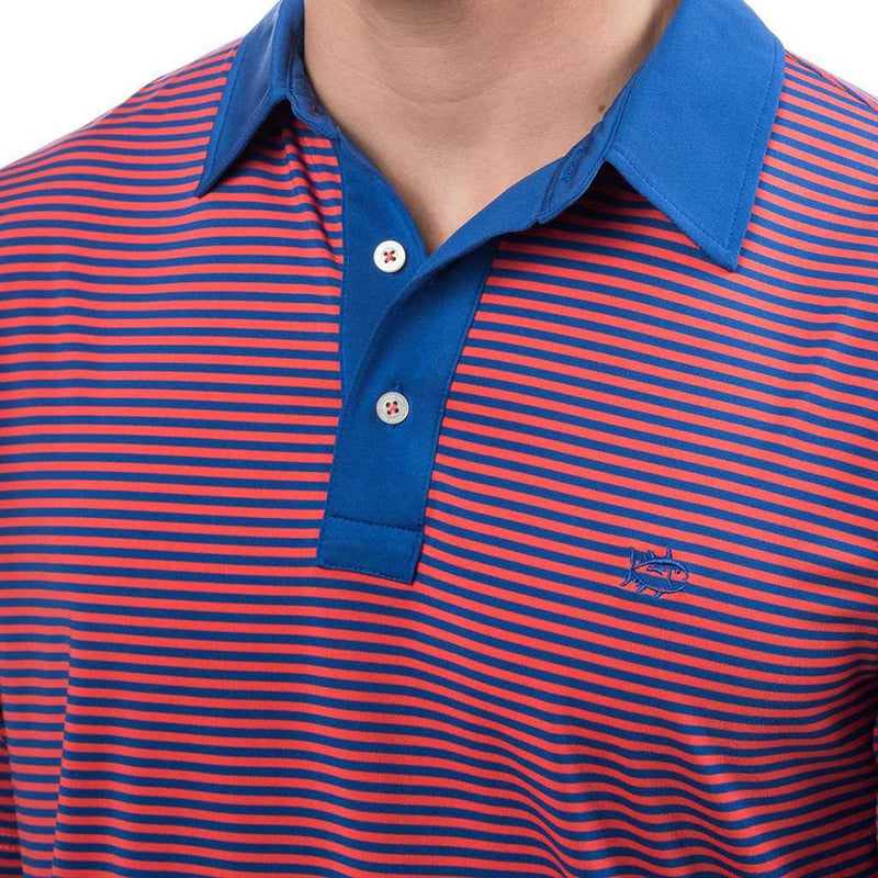 Game Set Match Stripe Performance Polo in Paprika Red by Southern Tide - FINAL SALE