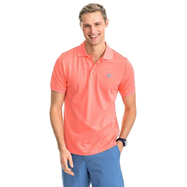 Southern Tide Jack Performance Pique Polo Shirt georgia peach