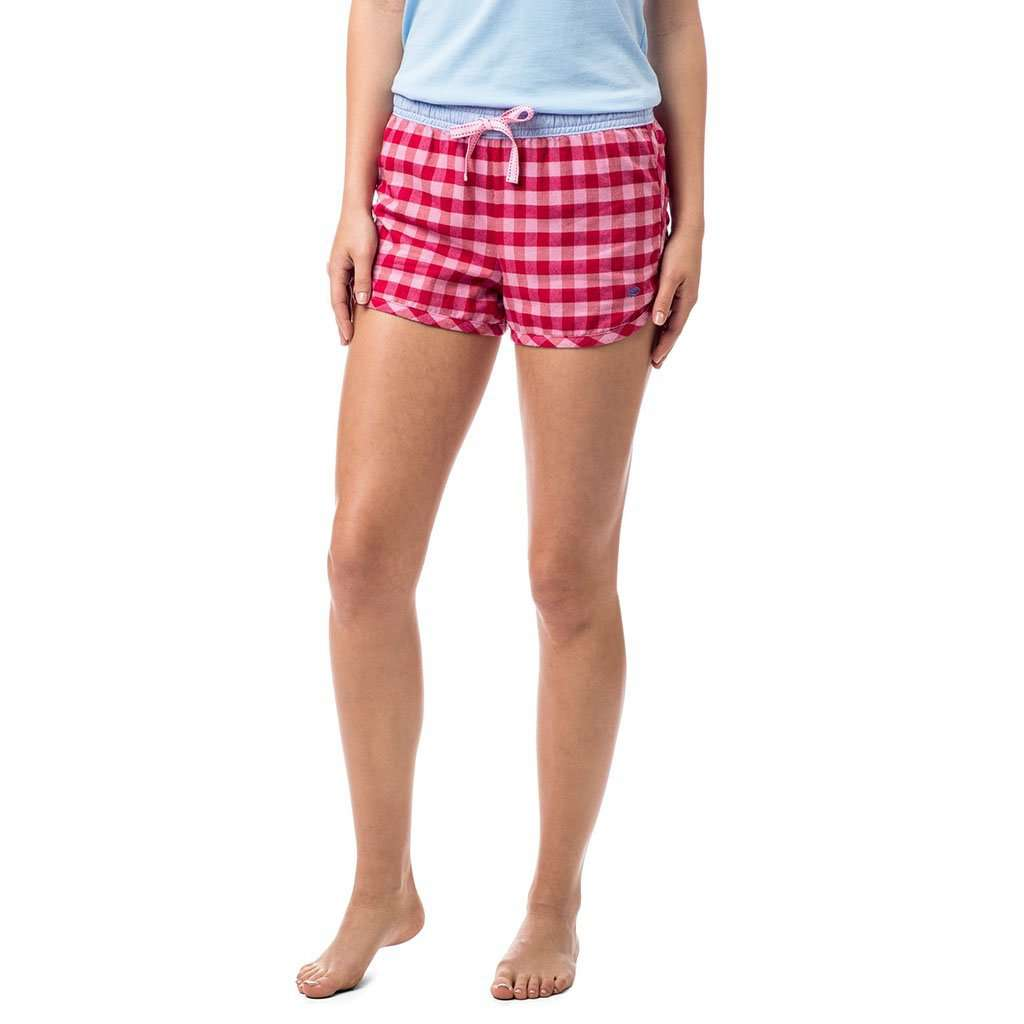 Southern Tide Jollytime Plaid Lounge Shot in Channel Marker Red