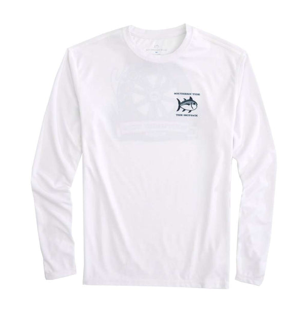Southern Tide Keep it Reel Long Sleeve Performance T-Shirt in Classic White