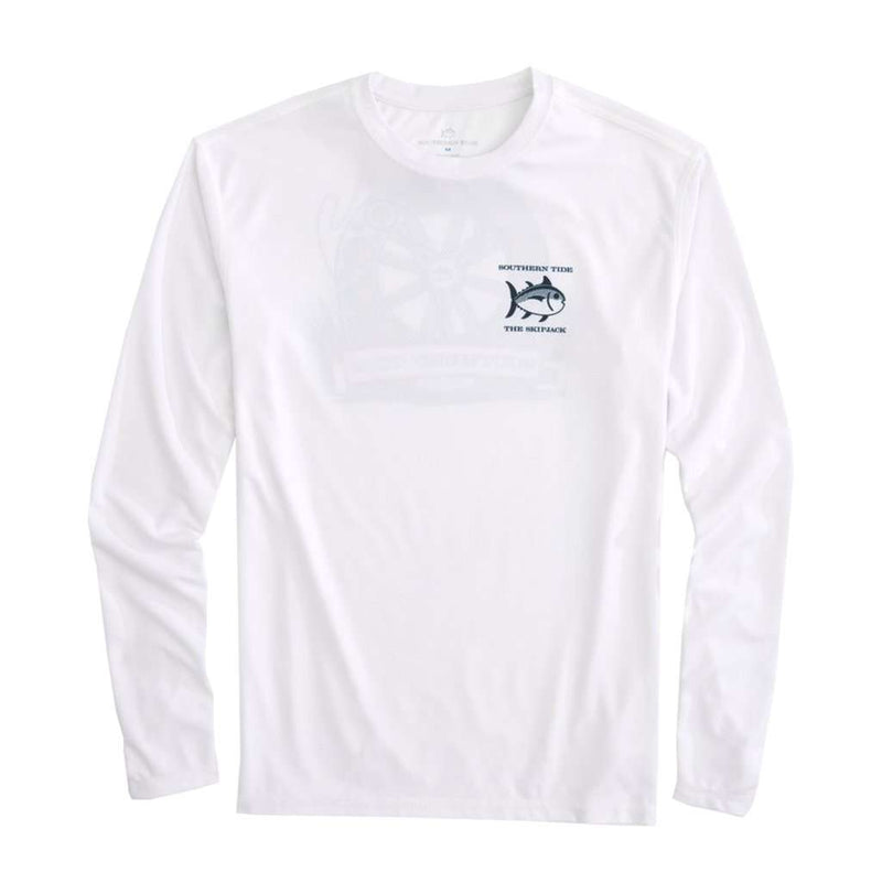 Keep it Reel Long Sleeve Performance T-Shirt in Classic White by Southern Tide - FINAL SALE