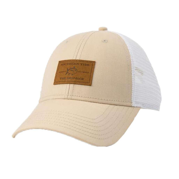 Southern Tide Leather Patch Oxford Trucker Hat
