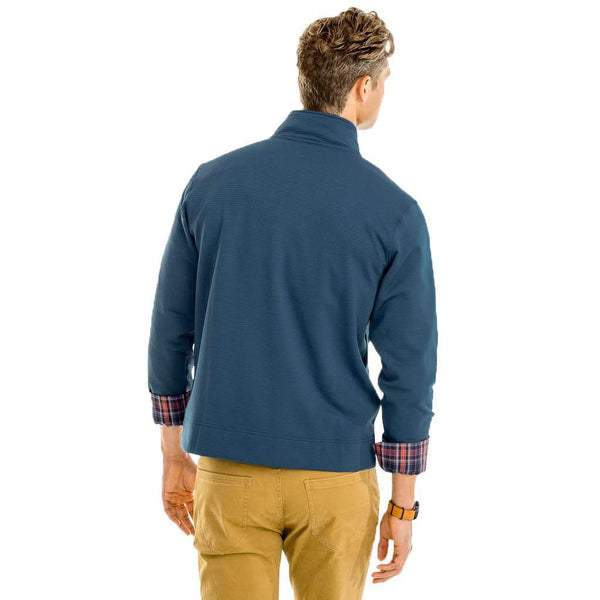 Southern Tide Long Cove Grid Fleece 1/4 Zip Pullover in Seven Seas Blue