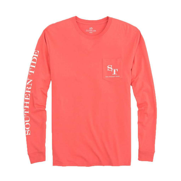 Southern Tide Long Sleeve Distressed Outline Skipjack T-Shirt in Sea Coral