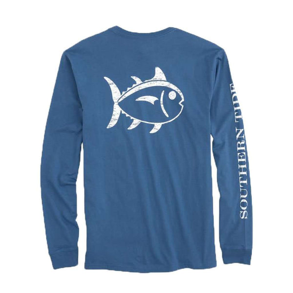 Southern Tide Long Sleeve Distressed Outline Skipjack T-Shirt in Seven Seas Blue