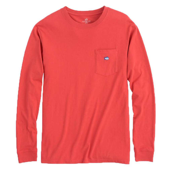 Southern Tide Long Sleeve Embroidered Pocket T-Shirt in Terracotta