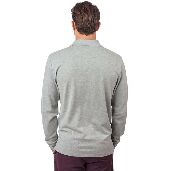 Long Sleeve Heathered Skipjack Polo in Light Grey by Southern Tide - FINAL SALE