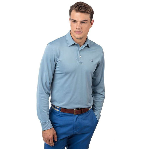 Southern Tide Long Sleeve Roster Performance Polo in Tsunami Grey