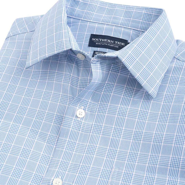 Southern Tide Marsh Plaid Brrr Intercoastal Performance Shirt endless blue