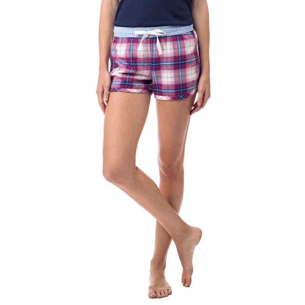 Southern Tide Merrytime Plaid Lounge Short in Marshmallow