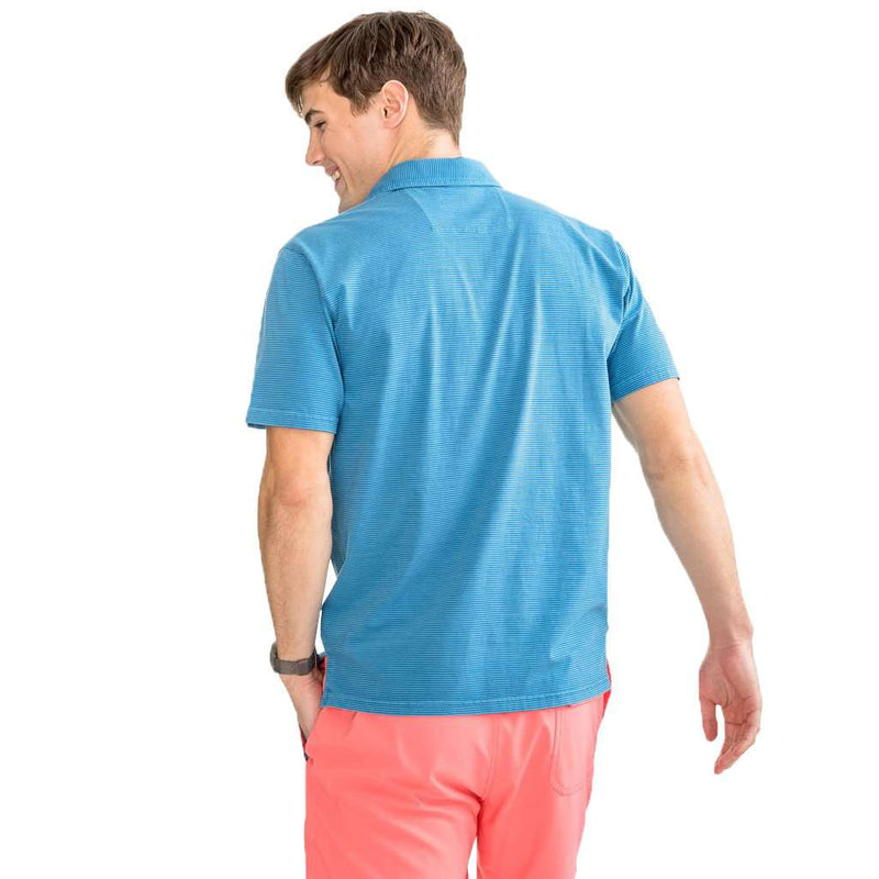 Southern Tide Micro Stripe Island Road Jersey Polo Shirt pompeii blue