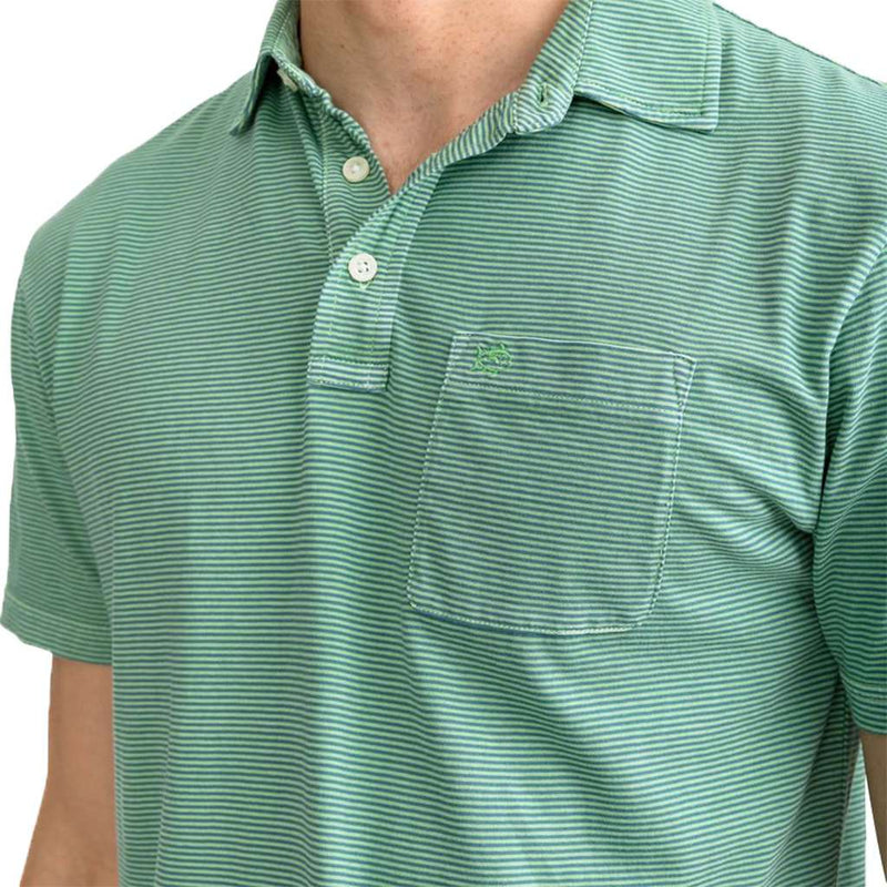Southern Tide Micro Stripe Island Road Jersey Polo Shirt green glass