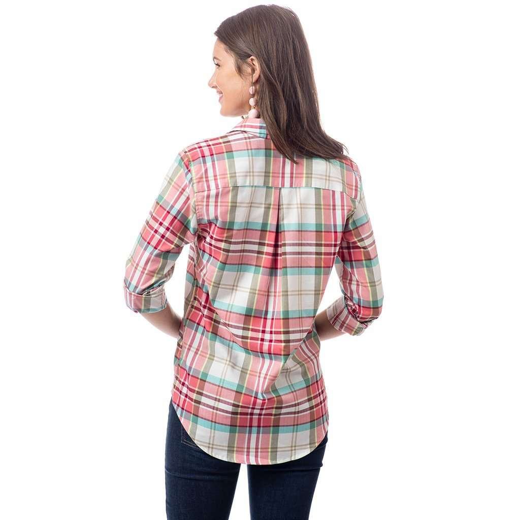 Southern Tide Mountain Plaid Hadley Popover in Marshmallow