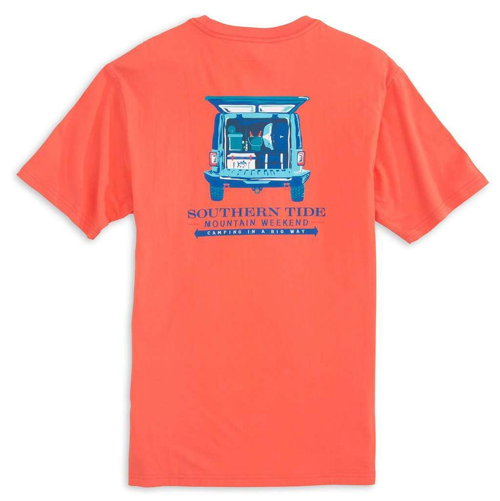 Southern Tide Mountain Weekend Camping T-Shirt in Melon
